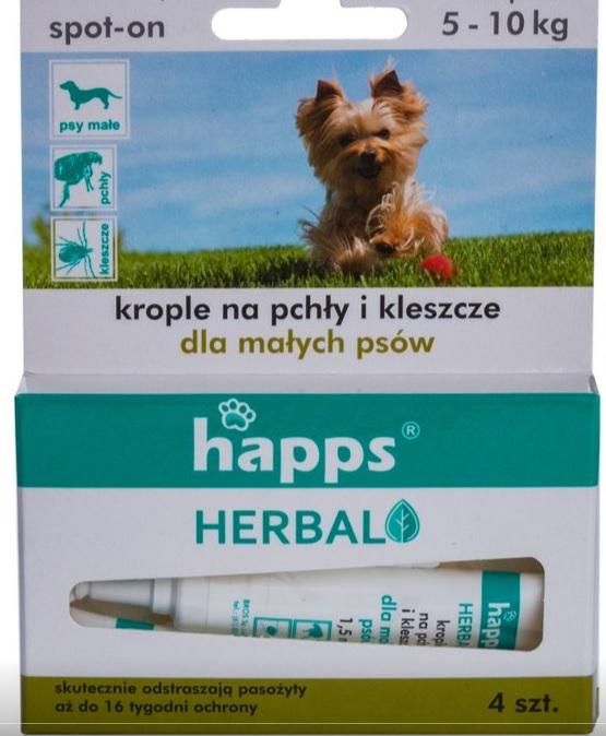 1fb7ced7db3e HAPPS krople na pchły i kleszcze dla małych psów 5-10 kg
